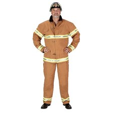 Adult Fire Fighter Suit Costume in Tan