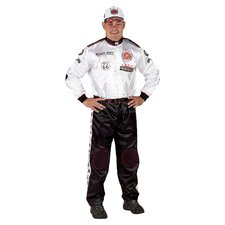 <strong>Aeromax</strong> Adult Champion Racing Suit with Cap Costume in Black / White