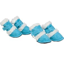 <strong>Pet Life</strong> Duggz Snuggly Shearling Dog Boots in Blue and White