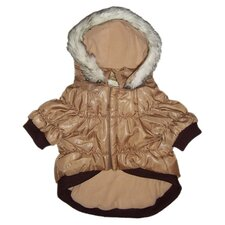 Metallic Dog Parka with Removable Hood in Brown