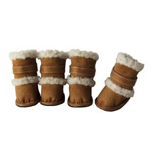 Duggz Snuggly Shearling Dog Boots in Brown and White