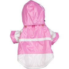 Two Tone Dog Raincoat with Removable Hood in Pink and White