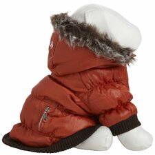 Metallic Dog Parka with Removable Hood in Orange