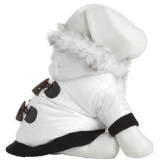 Fashion Dog Parka with Hood in Winter White