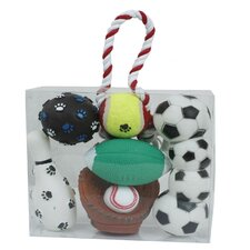 5 Piece Sports Themed Pet Toy Set