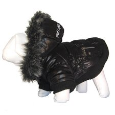 Metallic Dog Parka with Removable Hood in Black