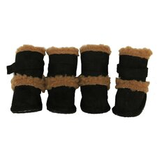 Duggz Snuggly Shearling Dog Boots in Black and Brown (Set of 4)
