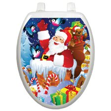Holiday Santa In Chimney Toilet Seat Decal