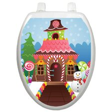 Holiday Christmas Candy House Toilet Seat Decal