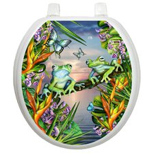 Themes Frogs In The Moonlight Toilet Seat Decal
