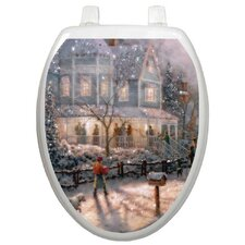 Holiday Glistening Snow Toilet Seat Decal