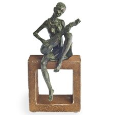 Guitar Player Figurine on Rustic Stand