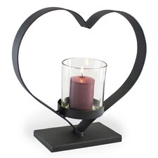 Heart Iron and Glass Hurricane Candle Holder