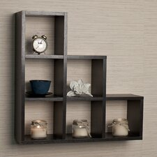 Stepped 6 Cubby Decorative Wall Shelf