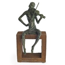 Violin Player on Rustic Stand Figurine