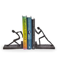 Men Pushing Metal Bookend 2-Piece Set