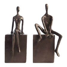 Man & Woman Sitting on a Block Bookend (Set of 2)