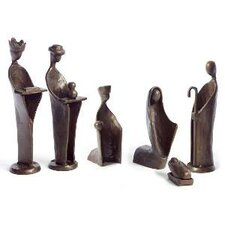 6 Piece Mini Nativity Set in Bronze