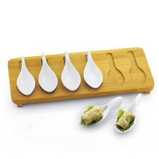 <strong>Danya B</strong> Porcelain Tasting Spoons with Bamboo Tray (Set of 7)
