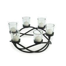<strong>Danya B</strong> Round Waves Iron and Glass Candle Holder