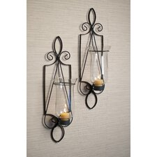 2 Piece Tuscan Iron and Glass Sconce Set (Set of 2)