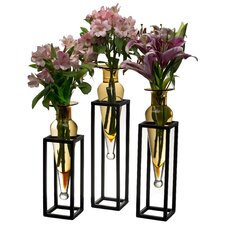Amphora Vases on Metal Stands (Set of 3)