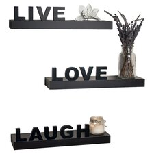 "Decorative ""Live"" ""Love"" ""Laugh"" Wall Shelves (Set of 3)"