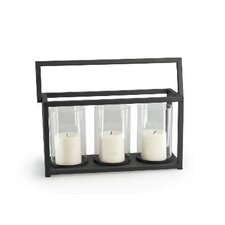 Triple Iron and Glass Hurricane Candle Holder Basket