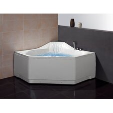 "<strong>Ariel Bath</strong> 59"" x 59"" Corner Whirlpool Tub with Waterfall Faucet"