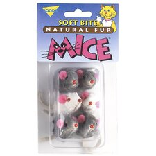 6 Natural Fur Mice Soft Bite Cat Toys