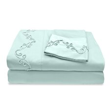 300 Thread Count Egyptian Cotton Sheet Set with Chenille Scroll