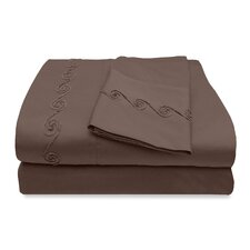 800 Thread Count Egyptian Cotton Sheet Set with Chenille Swirl