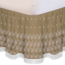 """Hike Up Your Skirt"" Embroidered Bedskirt in Taupe"