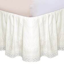 """Hike Up Your Skirt"" Embroidered Bedskirt in Ivory"