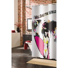 Surf The World Polyester Shower Curtain