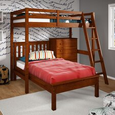 Donco Kids Twin Over Twin L-Shaped Bunk Bed with 5 Drawer Chest