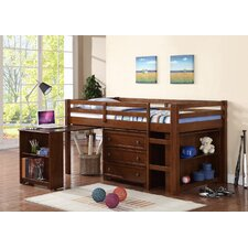 Donco Kids Twin Low Loft Bed with Roll-Out Desk, Chest, and Bookcase