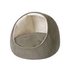 Faux Suede Hooded Snuggler Cat Bed with Cushion in Sage/Ivory