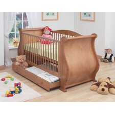 Louis Sleigh Convertible Cot Bed with Drawer in Old English