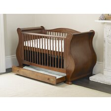 Louis Sleigh Convertible Cot Bed with Drawer in Walnut