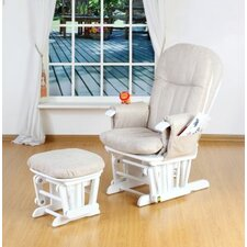 Deluxe Recliner Glider Chair with Stool in White