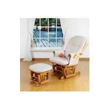 Deluxe Recliner Glider Chair with Stool in Beech