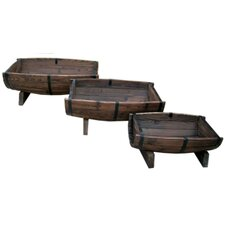 Rectangular Half Barrel Planters (Set of 3)