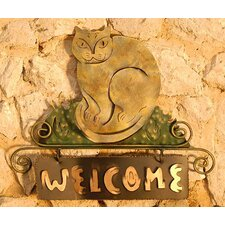 'Cat Smiles Welcome' Sign