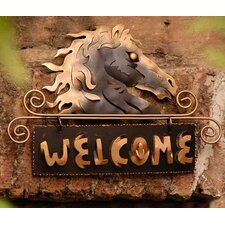 <strong>Novica</strong> 'Golden Horse Welcome' Sign