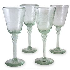 <strong>Novica</strong> 'Crystal Flowers' Wine Glasses (Set of 4)