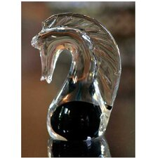 'Black Crystal Seahorse' Murano Hand blown Paperweight