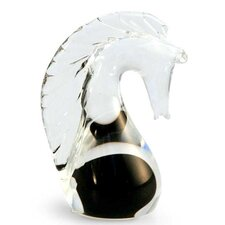 'Black Crystal Seahorse' Murano Hand blown Paperweight Sculpture