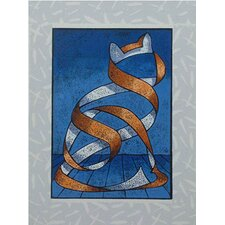Seated Cat Wall Art in Blue