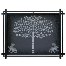 Silver Bo Tree with Lions by Parinya Nanjai Framed Graphic Art